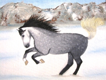 dappled grey horse painting