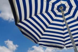 blue-striped-beach-umbrella