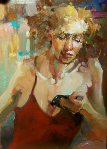 woman-got_mail__kim_roberti_s_5x7_original_contemporary_figurative__figurative__cdc271d628a6c2e4790850d9e4c9de64