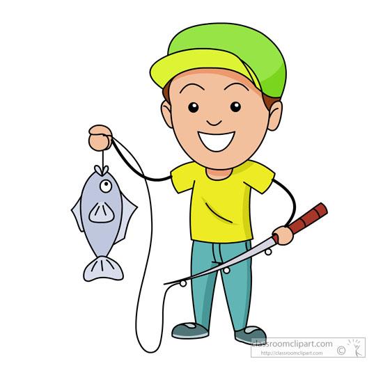 fisherman with fishing pole holding fish
