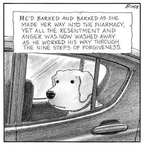 cartoon dog in car