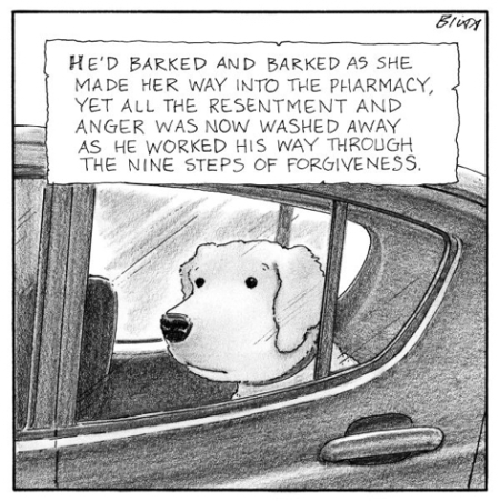 cartoon dog in car