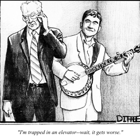 cartoon elevator banjo