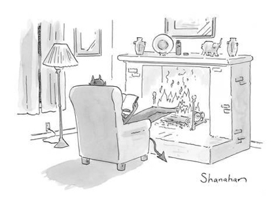 cartoon devil fireplace