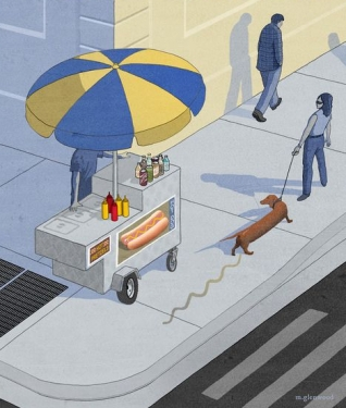 cartoon ny cover hot dog and dog