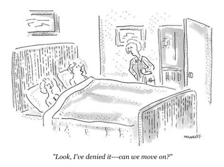 cartoon bed denial