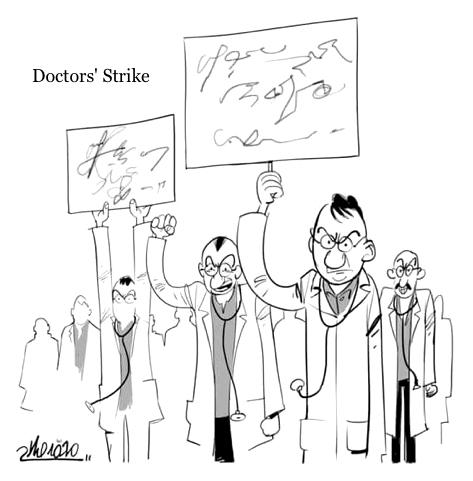 cartoon doctors strike