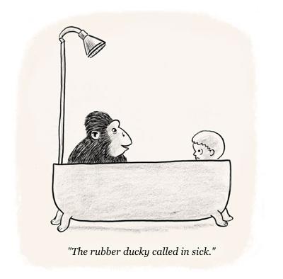 cartoon gorilla in bath