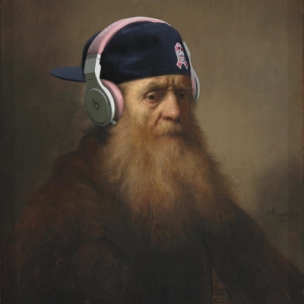 old rembrandt man with headphones