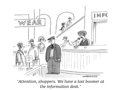 cartoon attention shoppers