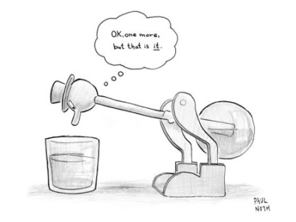 cartoon paul-noth-a-bobbing-duck-toy-is-dipping-its-beak-into-a-glass-of-water-new-yorker-cartoon