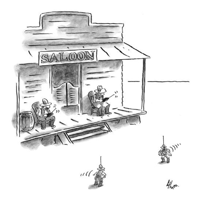 cartoon two-cowboys-sitting-outside-a-saloon-with-remote-controls-watch-toy-robot-new-yorker-cartoon_u-l-pgrzy10