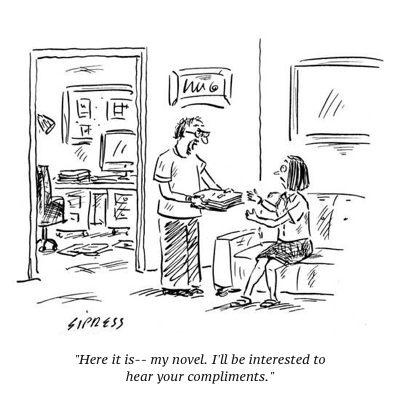 cartoon-here-it-is-my-novel-i-ll-be-interested-to-hear-your-compliments-new-yorker-cartoon_a-l-9181104-8419449