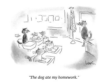 cartoon dog homework