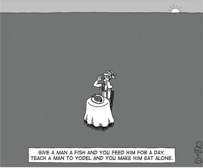 cartoon give a fish