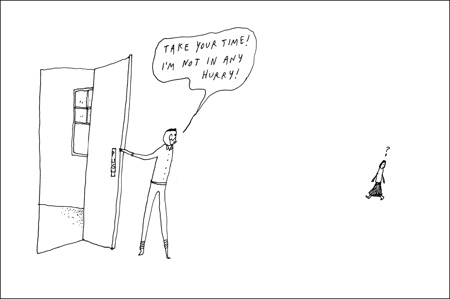 cartoon holding door