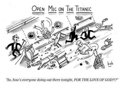 cartoon titanic open mic